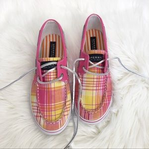 Sperry Top-Sider Bahama Pink & Yellow Plaid Shoes